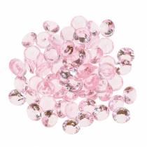 Piedras decorativas diamante acrílico rosa claro Ø1.2cm 175g para decoración de cumpleaños