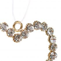 Corazón decorativo de oro para colgar con pedrería 6pcs