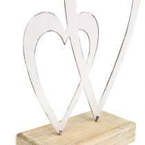 Doble corazón blanco al pie H18cm