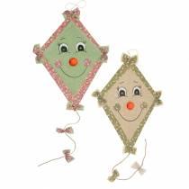 Cometa decorativa otoñal para colgar verde menta rosa vieja / verde oliva natural 40cm x 57cm 2pcs