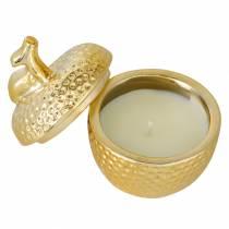 """Vela aromática """"Spiced Apple"""" en joyero de manzana oro Ø7.2cm H8.5cm"""