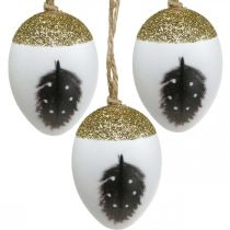 Huevos nobles para colgar, primavera, huevos de Pascua con motivo de primavera, huevos decorativos en caja de madera, decoración de Pascua 6 piezas
