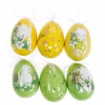 Ramo de huevos de Pascua decorativo para colgar amarillo, verde surtido H7cm 6ud