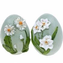 Huevos de Pascua con motivos florales margaritas y narcisos azul, verde yeso surtido 2ud