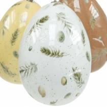 Huevos de Pascua para colgar con motivos huevos y plumas blanco, marrón, amarillo surtido 3ud