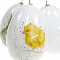Huevos de Pascua para colgar con motivos animales pollito, pájaro, conejo blanco surtido 3ud