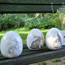 Huevo de cerámica blanca con motivo de conejo Ø12.5cm H16cm 2pcs