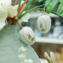 Huevo para colgar conejo blanco cerámico Ø5.5cm H7.6cm 12pcs