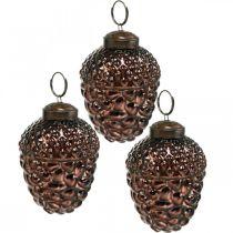 Conos decorativos de vidrio bellota marrón para colgar decoración de Adviento 5.5 × 8cm 12pcs