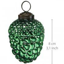 Bellota vidrio verde otoño decoración conos adornos para árboles de Navidad 5,5 × 8 cm 12 piezas