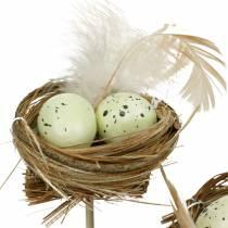 Enchufe decorativo nido de pájaro, decoración de Pascua, nido con huevos 23cm 6pcs