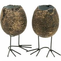 Cáscara de huevo para plantar con patas, huevo de Pascua, huevo con patas de pájaro, decoración de Pascua negro dorado 4 piezas