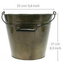 Cubo de metal, maceta, recipiente de metal Ø25cm H21cm