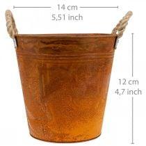 Macetero, decoración de otoño, recipiente de metal con pátina Ø14cm H12cm