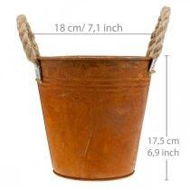 Macetero con pátina, recipiente de metal, decoración otoñal Ø18cm H17.5cm