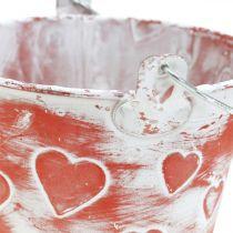 Recipiente de metal para cubo de siembra con patrón de corazón Cubo de planta para el Día de la Madre Ø13.5cm