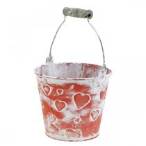 Cubo decorativo con forma de corazón, recipiente de metal, San Valentín, cubo con asa Ø12cm