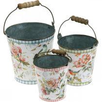 Cubo de metal con aspecto vintage, decoración de primavera, cubo de plantas, decoración de metal H15 / 11 / 9.5cm juego de 3