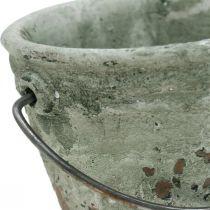 Cubo para plantar, recipiente de cerámica, decoración de cubo, óptica antigua Ø11.5cm H10.5cm 3ud