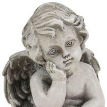 Ángel decorativo en gris sentado 13,5cm 2 piezas