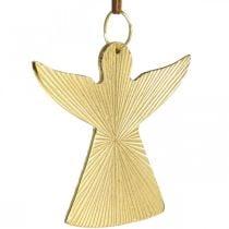 Ángel decorativo, colgante de metal, decoración navideña dorado 9 × 10cm 3ud