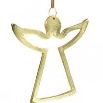 Colgantes de metal, ángeles decorativos, adorno dorado de adviento 15 × 16,5 cm