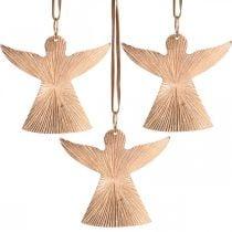 Ángeles para colgar, adornos de Adviento, adornos de metal cobre 9 × 10cm 3 piezas
