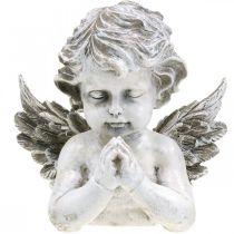 Ángel rezando, floristería funeraria, busto de figura de ángel, decoración de tumba Al 19 cm An 19,5 cm