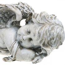 Decoración sepulcral ángel durmiendo ángel sepulcral gris poliresina 39 × 14x13cm