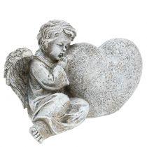 Ángel con corazón gris 11.5cm × 9cm × 6.5cm 2pcs