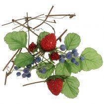 Conjunto de artesanía de bayas, ramas decorativas y hojas.