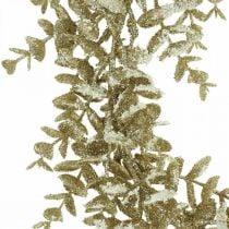 Corona decorativa eucalipto artificial dorado, cubierto de nieve Ø36cm