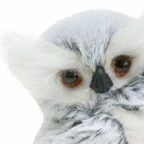 Deco búho blanco con pelo y plumas 21cm
