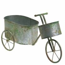 Macetero bicicleta zinc gris, verde 40 × 14 × 21cm