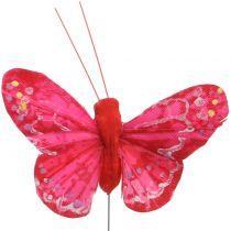 Pluma mariposa naranja-rojo 5cm 24pcs