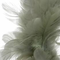 Corona de plumas decorativa gris Ø18cm Decoración de Pascua plumas reales
