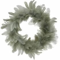 Decoración de Pascua corona de primavera gris Ø18cm Plumas reales