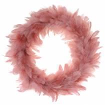 Corona de plumas decorativa grande rosa oscuro decoración de Pascua Ø40cm