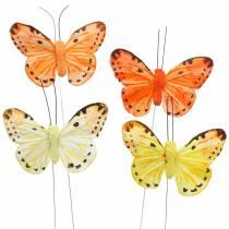 Mariposa amarillo naranja sobre alambre alambre de 7 cm 24 piezas