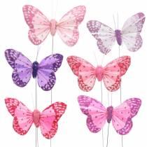 Mariposa de plumas sobre alambre rosa, violeta 7cm 24pcs