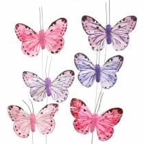 Alambre de metal mariposa pluma rosa, violeta 7cm 12 p