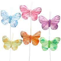 Mariposa de plumas sobre alambre de color 6cm 12pcs