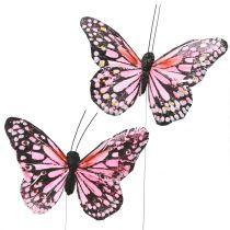 Mariposa en el alambre Rosa 11cm 12pcs
