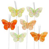 Pluma mariposas 6cm amarillo, naranja 24pcs