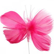 Mariposas de plumas rosa / rosa / rojo, mariposas decorativas en un alambre 6 piezas