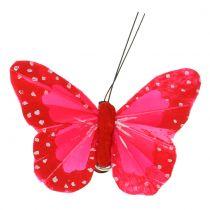 Mariposas de plumas en clip multicolor 7cm 12pcs