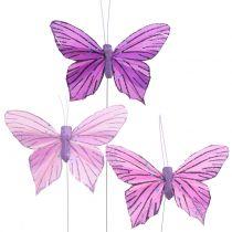 Pluma Mariposas Púrpura 8,5cm 12pcs