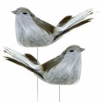 Pluma pájaro sobre cable gris 12cm 4pcs