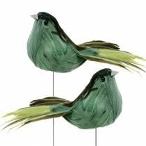 Pluma pájaro sobre alambre verde 12cm 4pcs