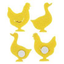 Pato de fieltro, pollo autoadhesivo amarillo 96 piezas